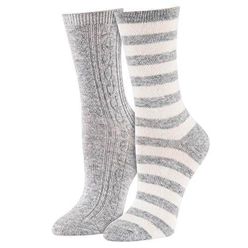 Isaac Mizrahi Cashmere Blend Crew Socks Grey & White with Stripes – 2 Pack