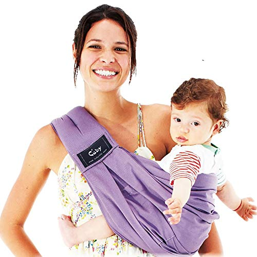 - Baby Carrier by Cuby, Natural Cotton Baby Sling Baby Holder Extra Comfortable for Easy Wearing Carrying of Newborn, Infant Toddler and Ideal for Baby Registry, Nursing,Breastfeeding … (Purple)