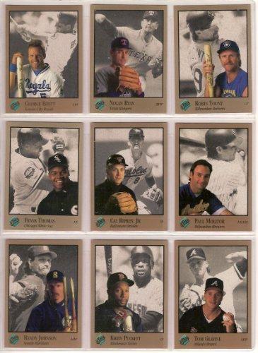 1992 Leaf Studio Portrait (10) Card Lot (Nolan Ryan) (George Brett) (Kirby Puckett) (Cal Ripken Jr.) (Frank Thomas) (Robin Yount) (Paul Molitor) (Randy Johnson) (Tom Glavine) (Darry Strawberry)