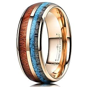 THREE KEYS JEWELRY 6mm 8mm Tungsten Wedding Ring Koa Wood Antler Turquoise Arrows Inlay Vikings Hunting Band