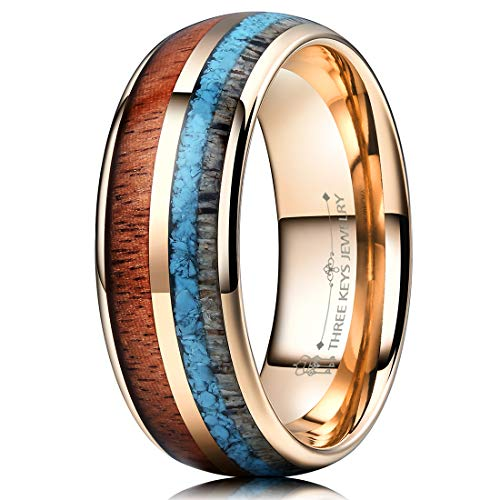 THREE KEYS JEWELRY 8mm Rose Gold Tungsten Wedding Ring with Real Koa Wood Antler Turquoise Inlay Dome Hunting Ring Wedding Band Engagement Ring Size 13