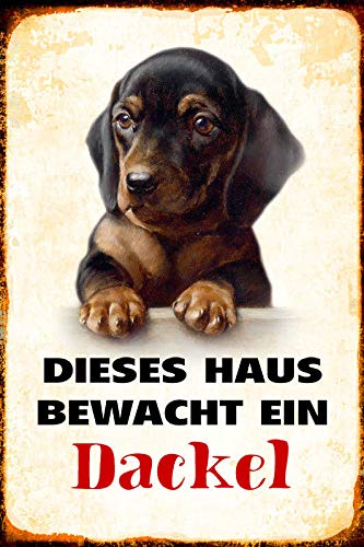 DYTrade Dog Dachshund Guarded Home Vintage Look Custom Metal Signs 12 x 16 - Bar Cafe Yard Signs House Signs
