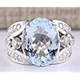 Women Fashion Jewelry 925 Silver Aquamarine Gemstone Wedding Engagement Ring New (6)