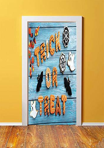 Vintage Halloween 3D Door Sticker Wall Decals Mural Wallpaper,Trick or Treat Cookie Wooden Table Ghost Bat Web Halloween,DIY Art Home Decor Poster Decoration 30.3x78.397,Blue Amber Multicolor