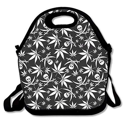 (Cannabis Weed Skull Pattern Handy Portable Zipper Lunch Box Lunch Tote Lunch Tote Bags)