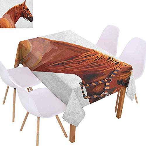 Marilec Polyester Tablecloth Animal Race Jokey Horse Pure Noble Animal Ride Hobby Nature Vehicle Artwork Paint Party W50 xL80 White and Cinnamon Great for Buffet Table]()