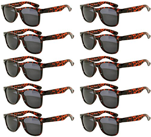 Vintage Retro Eyeglasses Sunglasses Smoke Lens 10 Pack Colored Colors Frame OWL (Leopard_10_Pairs, PC - Lenses Amazon Eye Color