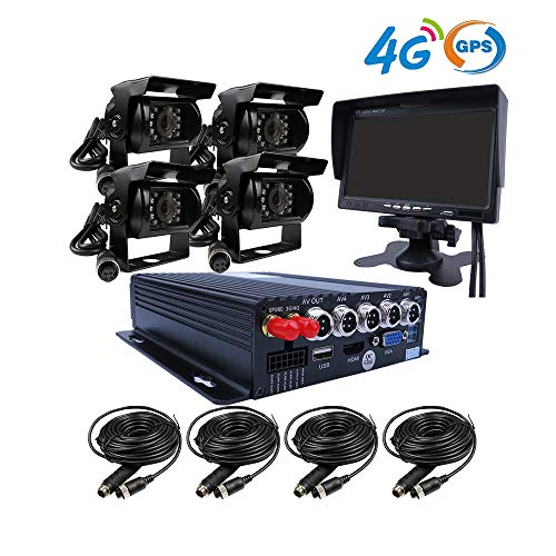 JOINLGO 4 Channel GPS 4G 1080P AHD 2 SD Mobile Vehicle Car DVR MDVR Video  Recorder Kit with 4 Duty Side Front Rear View Backup Car Cameras 7 inches