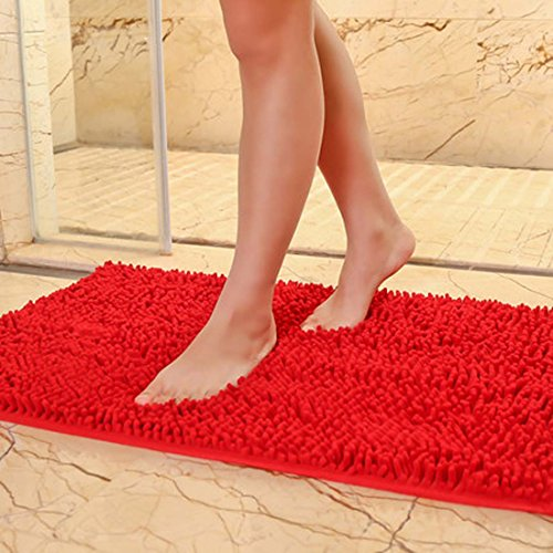 "Cheap DaringOne Extra Large Microfiber Shag Bathroom Mat Non-slip Chenille Bath Mat Water Absorbent Shower Mat Brilliant Red 19""x31"""