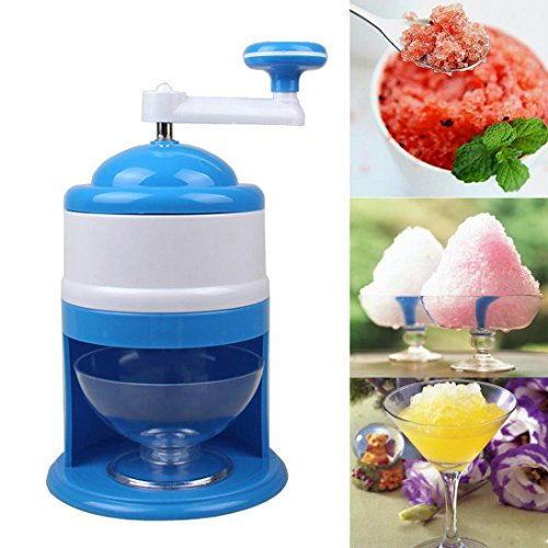 (Jeeke Snow Cone Machine Portable Manual Operation Ice Shaver Crusher (Blue, 1 x Manual Ice Crusher + 1 x Cup))