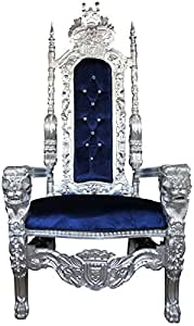 Casa-Padrino Sillón de Trono Barroco Plata/Azul con Silla de Diamantes de imitación Bling Royal - sillón de Bodas - sillón Gigante