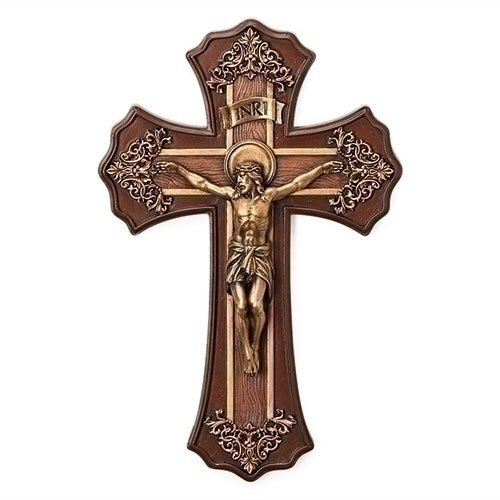 - Roman 10.25 Victorian Style Oak and Antique Gold Finish Crucifix Wall Cross