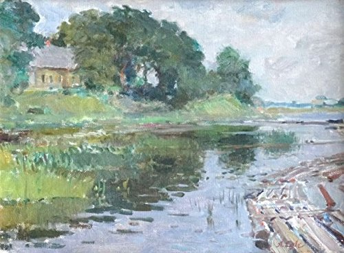 Riverside by Arvids Egle. Summer landscape with view on the river. Original oil painting. Small size painting 35 x 46 cm