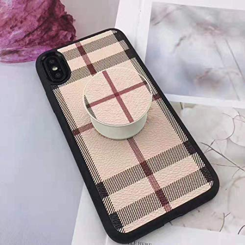 Boozuk iPhone 6/6S Plus Case with Stand, Luxury Stylish Large Vintage Check Style PU Leather Ultra Slim & Thin Soft TPU Anti-Slip Scratch Resistant Drop Proof Case for Apple iPhone 6/6S Plus 5.5
