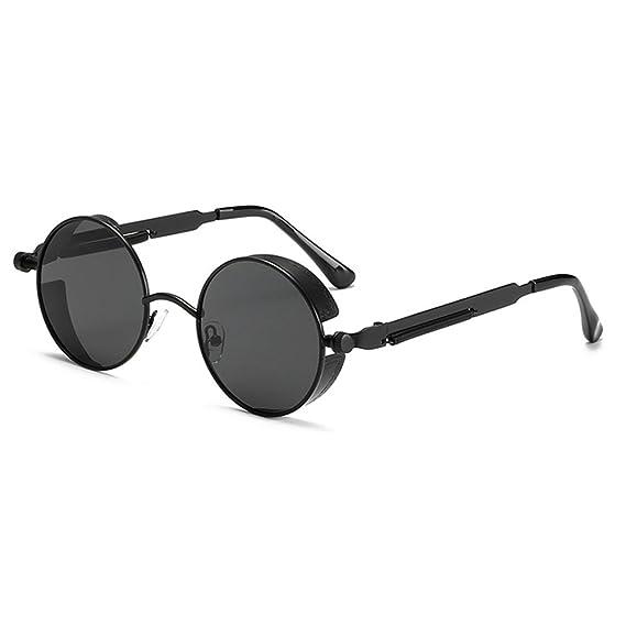 Highdas Estilo Retro Steampunk Round Metal Circle Polarized Gafas de sol hombres Mujer