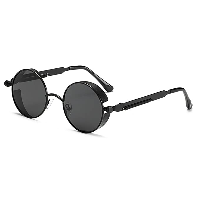 7c55386d41 Juleya Vintage Polarized Steampunk Sunglasses Round Mirrored Retro  Sunglasses Color 3  Amazon.co.uk  Clothing