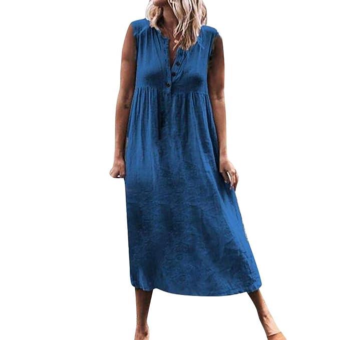 Amazon.com: Women\'s Plus Size Cotton Linen Casual Sleeveless Dresses ...