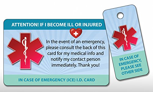Medical ICE Alert In Case of Emergency I.D. Identification Plastic Wallet Card and Keytag (Qty. (Medical Id Wallet Card)
