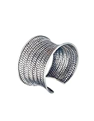 Silverly Women's 999 Sterling Silver Woven Hill Tribe Bracelet Bangle Cuff