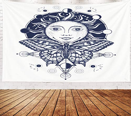 Yecationy Beach Tapestry, Tapestry Psychedelic Tapestry 80x60 Inch Magic Medieval Sun Butterfly Tattoo Symbol The Moon Phases Coloring Book Tapestry Wall Hanging Living Room Decoration Tapestries