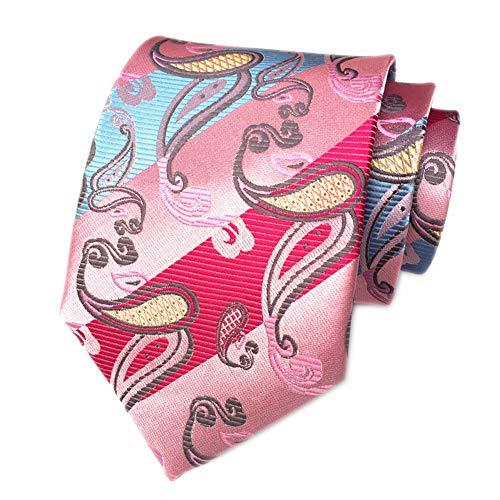 Secdtie Men's Striped Paisley Pink Blue Jacquard Woven Silk Tie Necktie C03 -