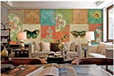 Mznm Custom Wallpaper 3D Mural For Living Room Rural Retro Lovely Pattern Butterfly Ceramic Tile Square Collage Background Wall-200X140Cm