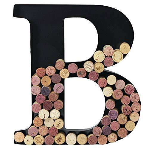 Metal Wine Cork Holder Monogram Decorative Wall Letter (B) from Hoovy