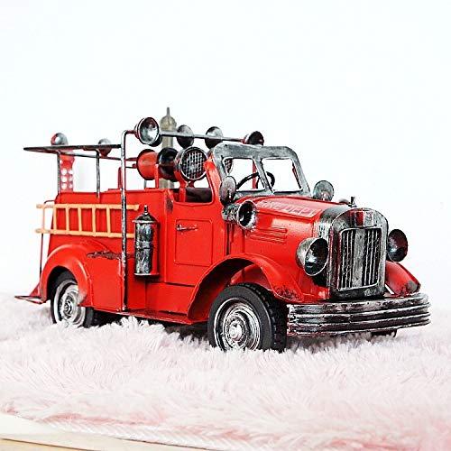 ZAMTAC Handcrafts Vintage Ornaments Fire Engine Model with roof Home car Models Gifts Crafts Adornment 341414cm - (Size: 34cm 14cm 14cm)