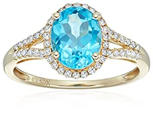 10k Yellow Gold Swiss Blue Topaz and Diamond Oval Halo Engagement Ring (1/5cttw, H-I Color, I1-I2 Clarity), Size 7
