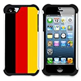 STPlus Germany German Flag Heavy Duty Shockproof Hard + Soft Rubber Case Cover for Apple iPhone SE / 5 / 5S