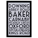 Modern Black & White London Street Names Print, Black Frame, 18'' x 26''
