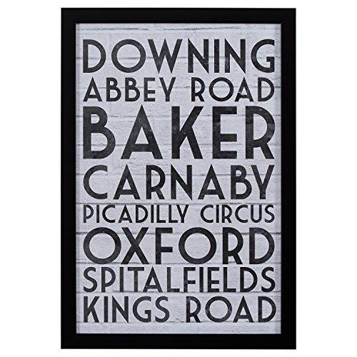 Modern Black & White London Street Names Print, Black Frame, 18'' x 26'' by Stone & Beam