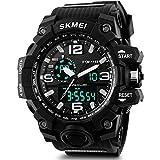 2018 Updated LED Big Face Waterproof Sports Watch, Analog Digital Luminous Stopwatch Military Watch (Black)