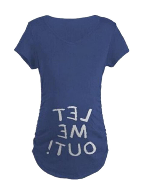 f4327003c1d71 BESTHOO Umstands T-Shirt Damen Crewneck Kurzarm Umstandsmode Bauch Stretch  Oberteil Bedrucktes Lustige Top Beiläufige