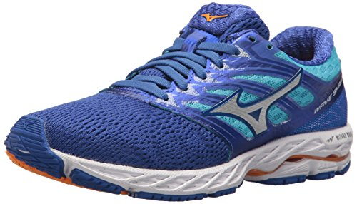 Mizuno Running Women's Wave Shadow Shoes, dazzling blue/white, 8 B US