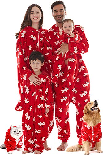 Cute Ladies Halloween Costume Ideas (Womens Christmas Pajamas for Family Couples, Printed Warm Onesie Hoodie Halloween Costumes for Ladies Red X-Mas Deer)