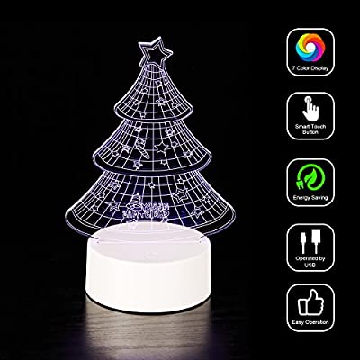 Wanhua 3D Table Desk Lamp Touch Night Light with Remote Control LED Lights for Kids