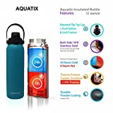 New Aquatix (Turquoise, 32 Ounce) Pure Stainless Steel Double Wall Vacuum Insulated Sports Water Bottle Convenient Flip Top Cap with Removable Strap Handle - Keeps Drink Cold 24 hr/Hot 6 hr