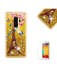 Funyye Glitter Liquid Case for Samsung Galaxy S9 Plus,Stylish Multi-Coloured Sparkle Quicksand Golden Tower Design Ultra thin Transparent Shell Case for Samsung Galaxy S9 Plus,Soft Flexible Silicone Gel TPU Bumper Back Cover Case for Samsung Galaxy S9 Plus + 1 x Free Screen Protector