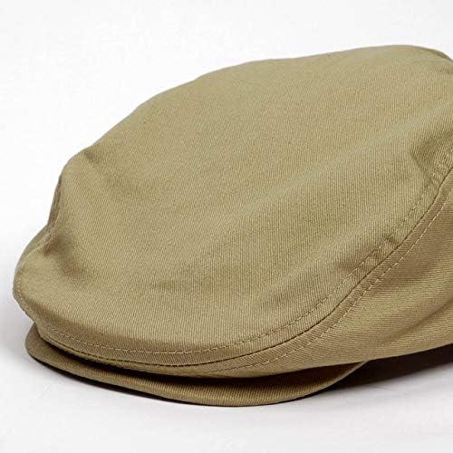 ハンチング帽 メンズ オールシーズン 定番 ベージュ色 ソリッド 無地 サイドスナップ ハンチング キャップ 帽子 フリー 58cm 調整可能