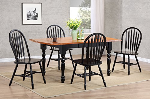 Sunset Trading DLU-TDX3472-820-AB5PC Dining-Table-Set, Antique Black/Cherry ()