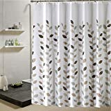 BoomTeck White Shower Curtain Set with Hooks Polyester Fabric Mildew Resistant Waterproof Anti-Bacterial Machine Washable 72 x 72 Inches for Home Hotel Bathroom, Brown Leaves Pattern