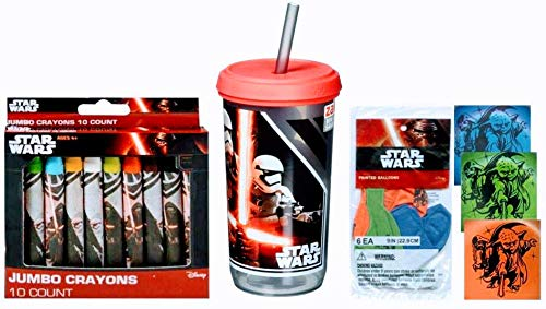 Star Wars 13 Ounce Kids Tumbler and Straw Bundled with Star Wars Balloons and Jumbo Crayons