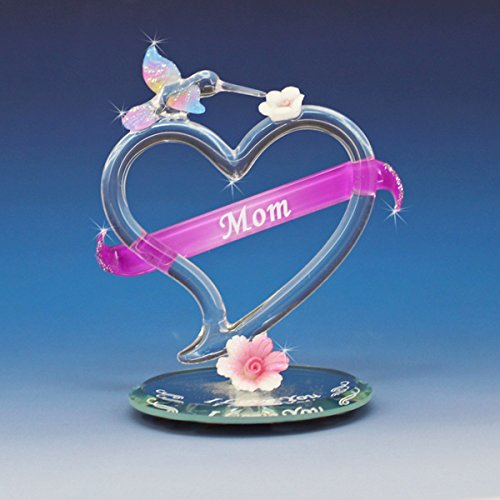 Handmade glass heart with MOM in the banner, Hummingbird on top of heart and I Love You on the (Hummingbird Banner)