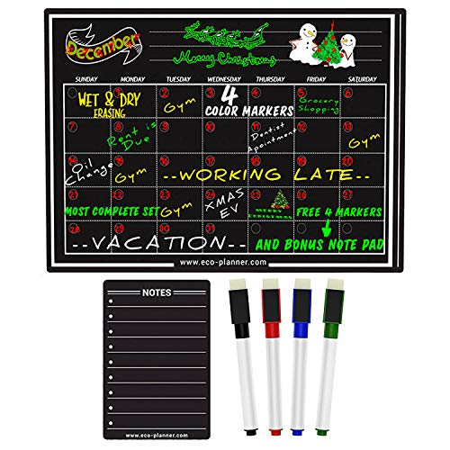 (EcoPlanner Monthly Black Magnetic Refrigerator Dry Erase Board Calendar with BONUS Notepad and 4 Magnetic Fluorescent Markers with eraser Included 16