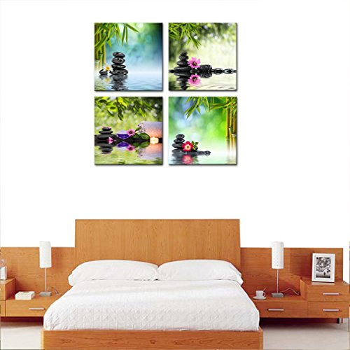 4 Panels Wall Art Canvas Prints Stones Flowers and Bamboo on Water SPA Still Life Modern Artwork Stretched and Framed for Home Living Room Decoration (30cmx30cmx4pcs) by MOCO ART (Image #2)