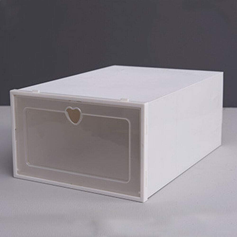 20x Plastic Foldable Shoe Storage Box Rectangular Organiser Container Transparent Stackable Storage Multifunction White USA