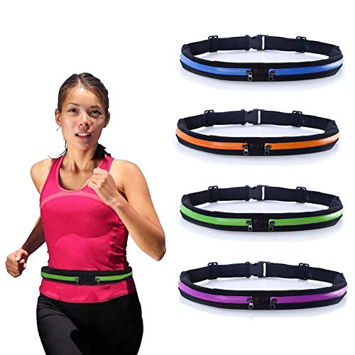 Running Belt Runners Waist Pack Adjustable Stretchy Zippered Fanny Pack with 2 Pockets, Fitness Workout Travel Yoga Compatible for iPhone Xs/Xs Max/XR/X/8/7/6s Plus, Samsung S9/S8/S7/S6 Edge | Green