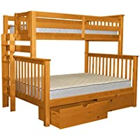Bedz King Bunk Beds Twin over Full Mission Style with End Ladder and 2 Under Bed Drawers, Honey