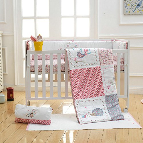 i-baby 9 Piece Nursery Crib Bedding Set for Newborn Baby Bedding Set Infant Boys Girls Fitted Sheet Duvet Pillow Bumper Cot Set 100% Cotton Fabric with Delicate Embroidery and Applique(Pink) from i-baby